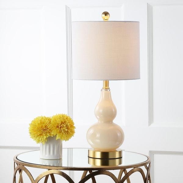 "Anya 20.5"" Mini Glass LED Table Lamp, Ivory"