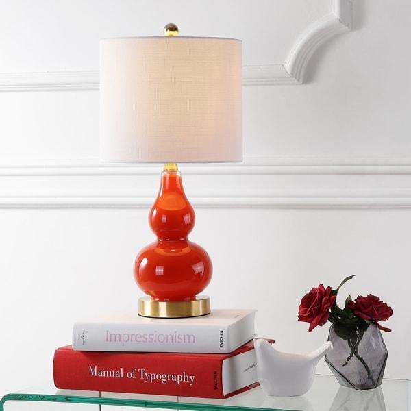 "Anya 20.5"" Mini Glass LED Table Lamp, Sunset Orange"