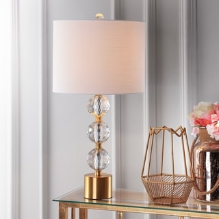 """Ashley 25.25"""" Crystal Table Lamp, Clear/Brass by JONATHAN  Y"""