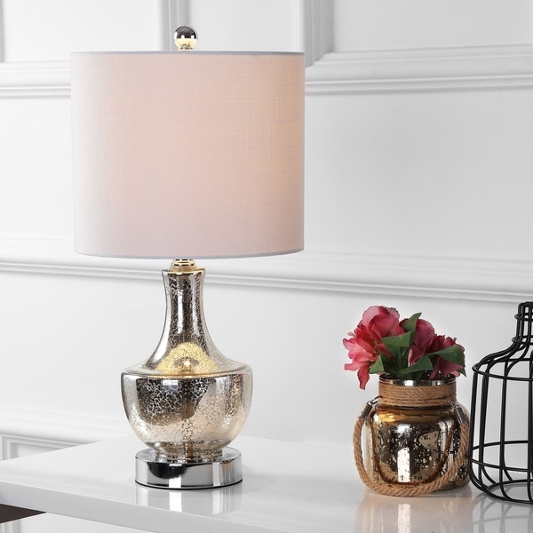 "Colette 20"" Mini Glass LED Table Lamp, Silver"