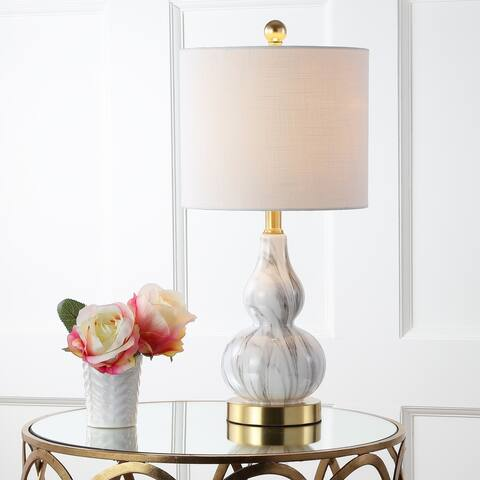 "Anya 20.5"" Mini Glass LED Table Lamp, Black/White by JONATHAN Y"