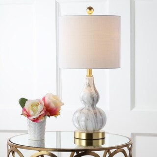 "Anya 20.5"" Mini Glass LED Table Lamp, Black/White"