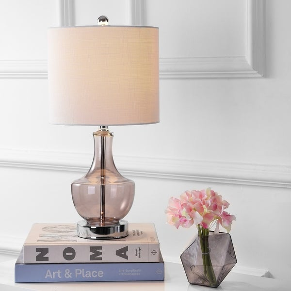 "Colette 20"" Mini Glass LED Table Lamp, Smoked Gray"