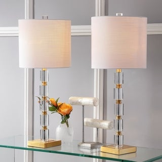 """Link to Claire 28.5"""" Crystal LED Table Lamp, Clear/Brass (Set of 2) by JONATHAN  Y Similar Items in Table Lamps"""