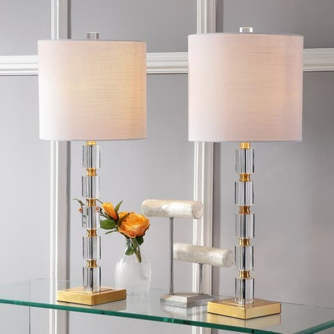 """Claire 28.5"""" Crystal LED Table Lamp, Clear/Brass (Set of 2) by JONATHAN Y"""