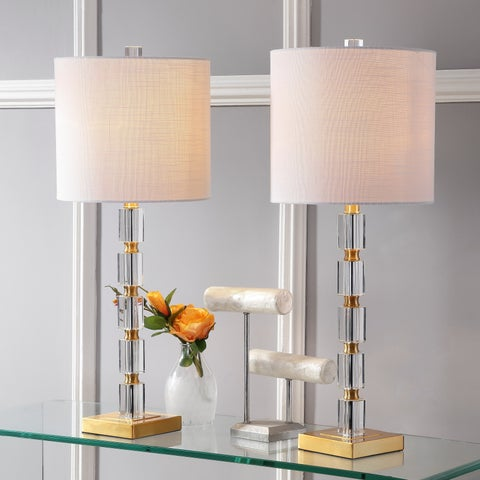 "Claire 28.5"" Crystal LED Table Lamp, Clear/Brass (Set of 2)"