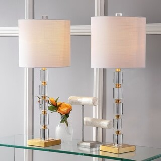 "Claire 28.5"" Crystal Table Lamp, Clear/Brass (Set of 2) by JONATHAN Y