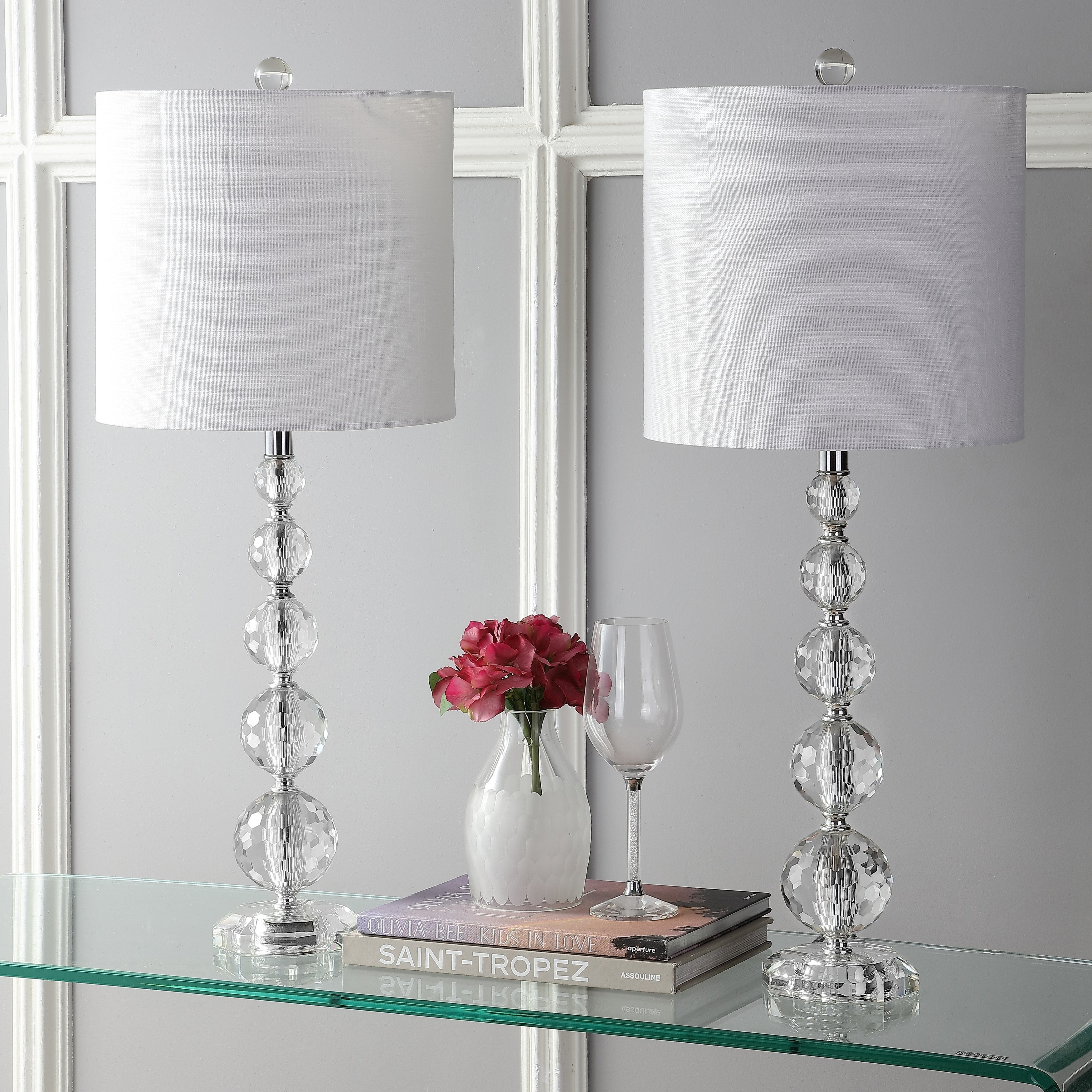 Picture of: Nala 28 5 Crystal Led Table Lamp Clear Chrome Set Of 2 By Jonathan Y On Sale Overstock 18110876