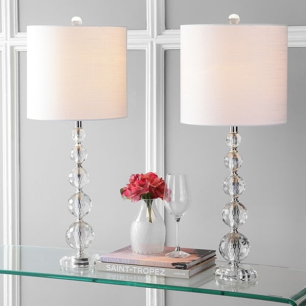 "Nala 28.5"" Crystal LED Table Lamp, Clear/Chrome (Set of 2) by JONATHAN Y"