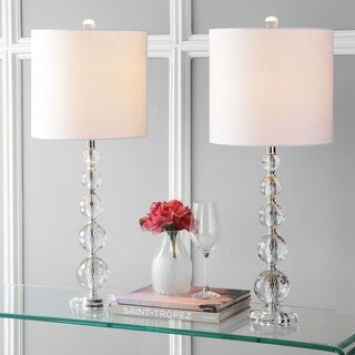 """Nala 28.5"""" Crystal Table Lamp, Clear/Chrome (Set of 2) by JONATHAN Y