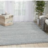 Nourison Malibu Solid Slate Grey Shag Rug (7'10 x 9'10) - 7'10 x 9'10