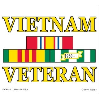 Vietnam Veteran Service Ribbon Car Decal 2-3/8 by 4-3/4 Inches