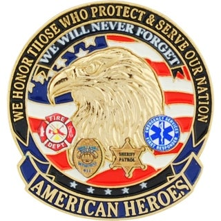 American Heroes Pin 1-1/8 Inches