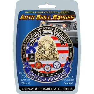 American Warriors We Will Never Forget Automobile Grill Badge