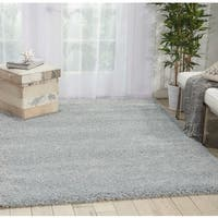 Nourison Malibu Solid Slate/Grey Shag Rug (6'7 x 9'6) - 6'7 x 9'6