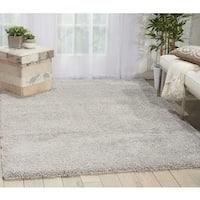 Nourison Malibu Solid Silver Grey Shag Rug (5'3 x 7'3) - 5'3 x 7'3