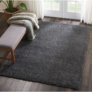 Nourison Malibu Solid Dark Grey Indoor Shag Area Rug (5'3 x 7'3)