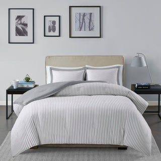 Link to Madison Park Essentials Braydon Grey Reversible Stripe Duvet Cover Set Similar Items in Duvet Covers & Sets