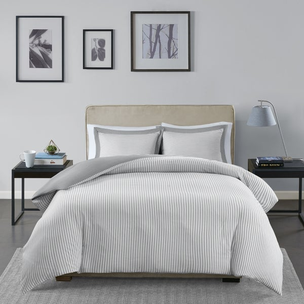 madison park essentials braydon grey reversible stripe duvet cover mini set