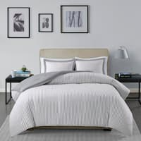Madison Park Essentials Braydon Grey Reversible Stripe Duvet Cover 3-Piece Set