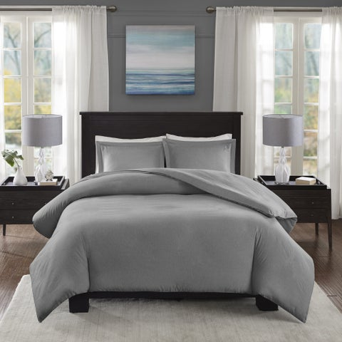 Madison Park Essentials Bradley Grey Yarn-Dyed Heather Weave Microfiber Duvet Cover 3-Piece Set