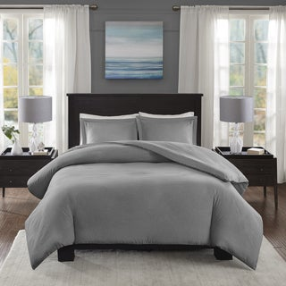 Madison Park Essentials Bradley Grey Yarn-Dyed Heather Weave Microfiber Duvet Cover Mini Set