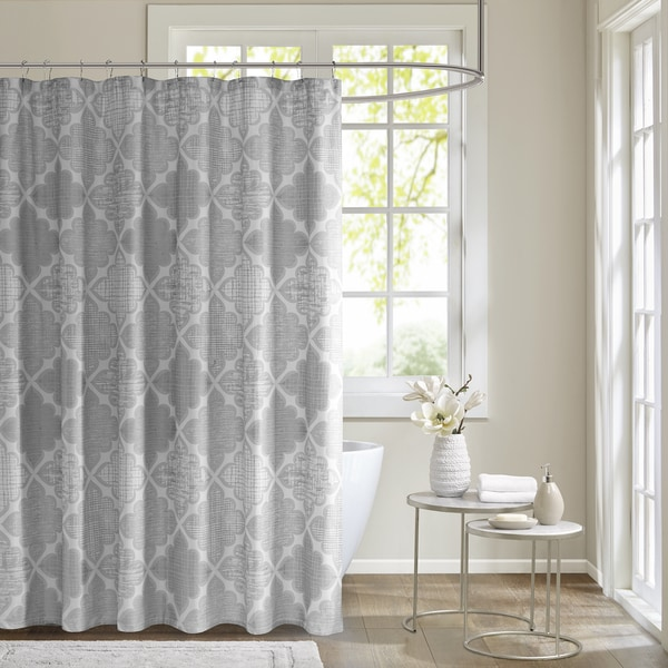 Madison Park Karyna Cotton Sateen Printed Shower Curtain 2-Color Option
