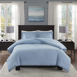 Madison Park Essentials Bradley Blue Yarn-Dyed Heather Weave Microfiber Duvet Cover Mini Set