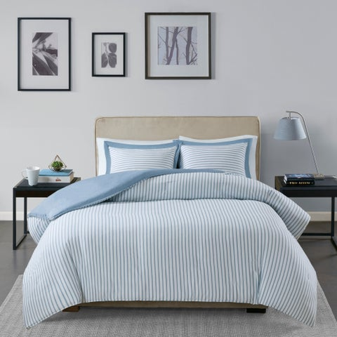 Madison Park Essentials Braydon Blue Reversible Stripe Duvet Cover 3-Piece Set