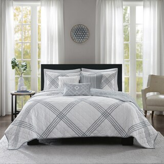 Madison Park Syracuse White 6-piece Cotton Percale Coverlet Set