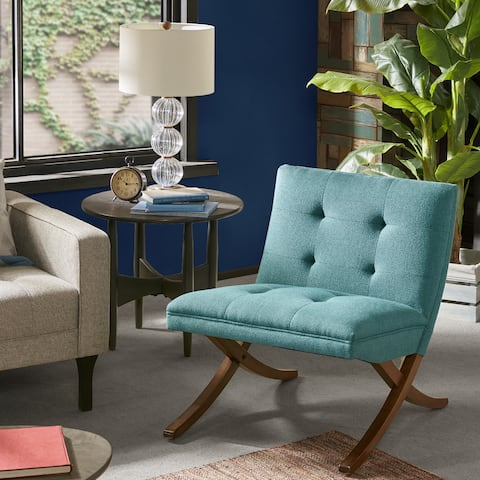 Ink And Ivy Wynn Teal Pecan Foam Upholstered Wooden Lounge