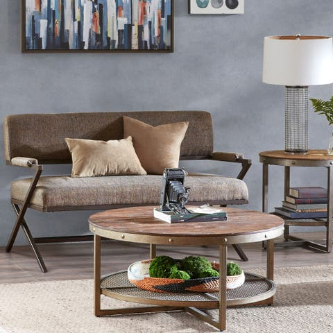 INK+IVY Zig Zag Brown Fabric and Metal Loveseat