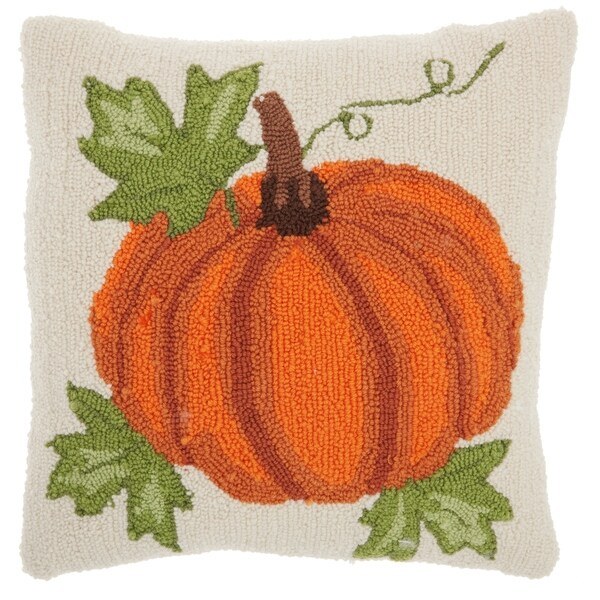 Mina Victory Harvest Pumpkin Orange Throw Pillow by Nourison (18-Inch x 18-Inch)