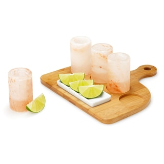Zennery Set of 4 Himalayan Salt Shot Glasses with Wood Tray