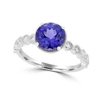 La Vita Vital 14K White Gold Tanzanite 2.35ct TGW & Diamond 0.30ct Ring