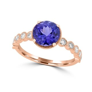 La Vita Vital 14K Rose Gold Tanzanite 2.35ct TGW & Diamond 0.30ct Ring - White