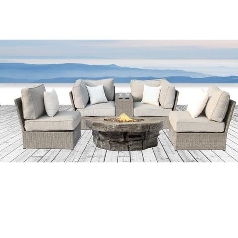 Living Source International Chelsea Fire Pit 6-piece Grey Wicker Aluminum Sofa Set with Ultrasoft Cushions