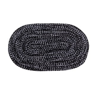 Chenille Reversible 22 x 40 Braided Rug (Black/Grey - 110 x 34 Oval)