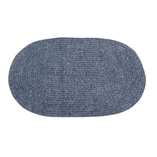 Chenille Reversible 22 x 40 Braided Rug (Grey - 110 x 34 Oval)