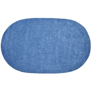 Chenille Reversible 22 x 40 Braided Rug (Smoke/Blue - 110 x 34 Oval)