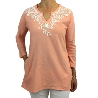 Coral tunic with white floral hand-embroidery