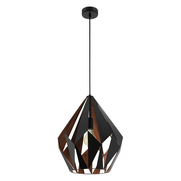 Eglo Carlton 1 Pendant with Matte Black Outer Finish and Copper Interior Finish
