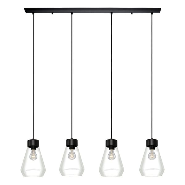 Eglo Montey 4 Light Pendant With Matte Black Finish and Clear Glass