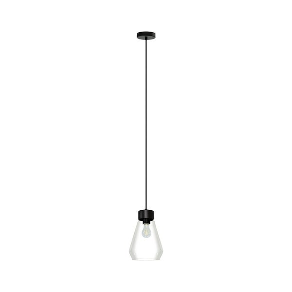 Eglo Montey 1-Light Pendant With Matte Black Finish and Clear Glass