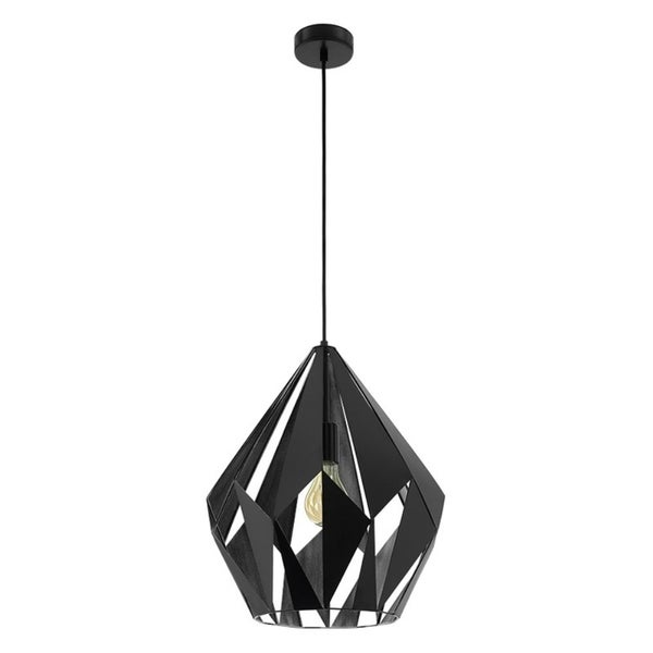 Eglo Carlton 1 Pendant with Matte Black Outer Finish and Silver Interior Finish