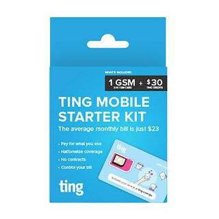 Ting tri-cut GSM SIM card starter kit w/ $30 in service credits