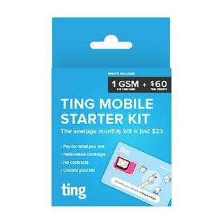 Ting tri-cut GSM SIM card starter kit w/ $60 in service credits