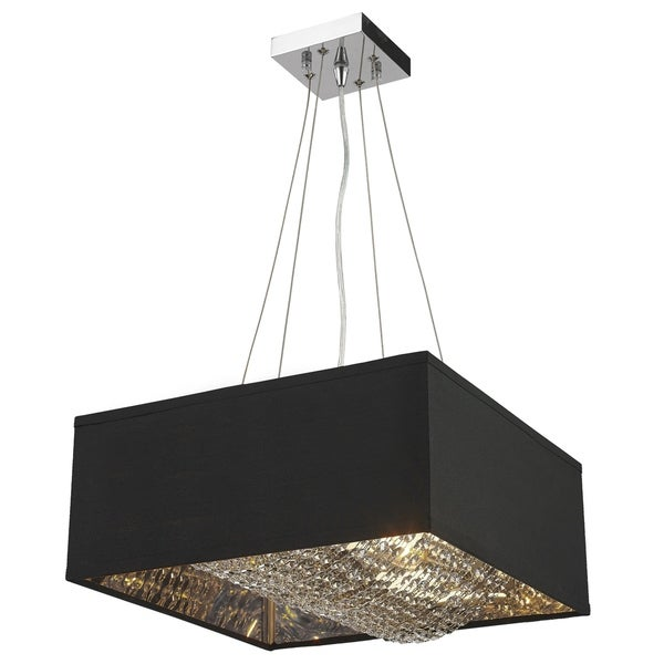 "Carlton Collection 5 Light Matte Silver finish with Black Shade Square Pendant L16"" W16"" H8"""