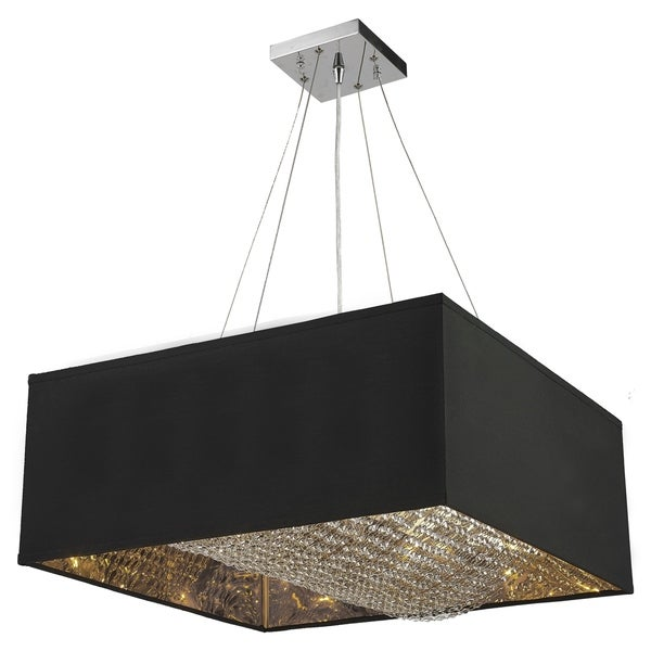 "Carlton Collection 8 Light Matte Silver finish with Black Shade Square Pendant L24"" W24"" H12"""