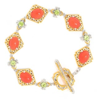 Michael Valitutti Palladium Silver Salmon Bamboo Coral & Peridot Toggle Bracelet
